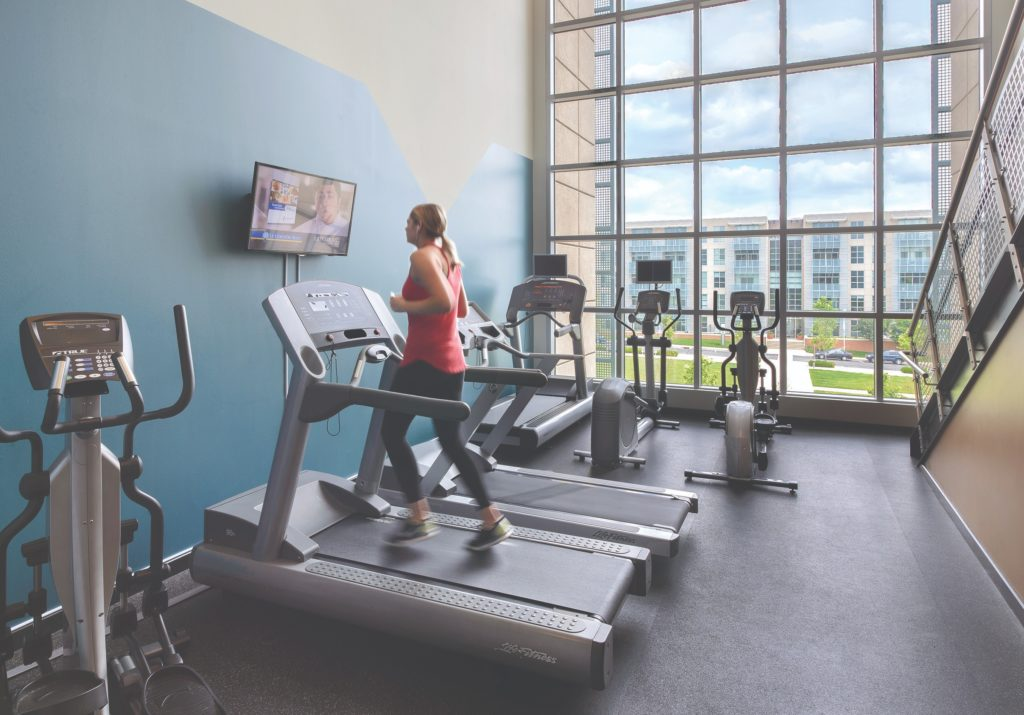 Lofts at highlands gym with treadmills